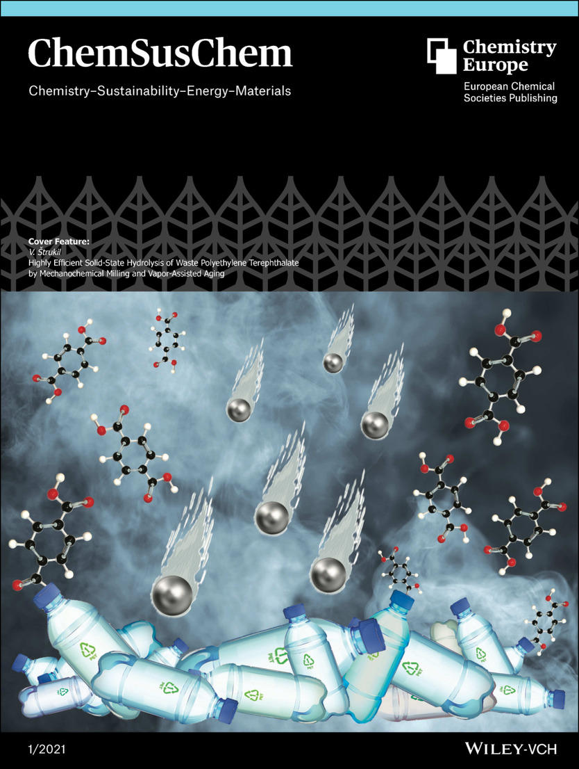 Cover Feature: Highly Efficient Solid‐State Hydrolysis of Waste Polyethylene Terephthalate by Mechanochemical Milling and Vapor‐Assisted Aging (ChemSusC...